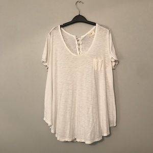 white short sleeved semi sheer flowy tunic